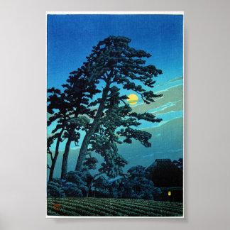Cool oriental japanese Kawase Tree Moonlight Poster