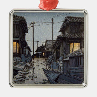 Cool oriental japanese Kawase village scenery Silver-Colored Square Decoration
