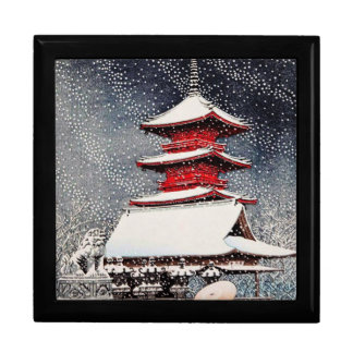 Cool oriental japanese Kawase winter scenery art Gift Box