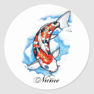 Cool Oriental Japanese Koi Carp Cloud tattoo Classic Round Sticker