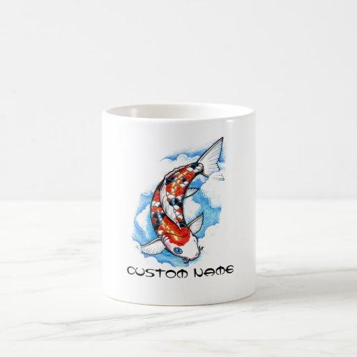 Cool Oriental Japanese Koi Carp Cloud tattoo Mugs