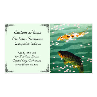 Cool oriental japanese koi carp fish emerald water pack of standard business cards