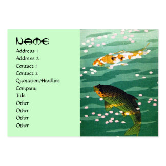 Cool oriental japanese koi carp fish emerald water pack of chubby business cards