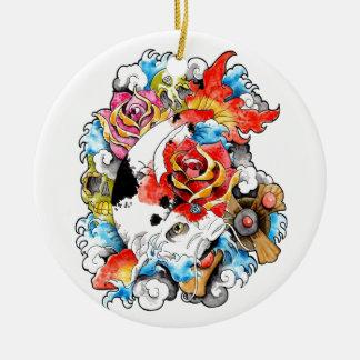 Cool Oriental Japanese Koi Carp Fish Flowers Christmas Ornament