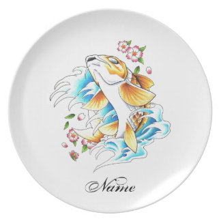 Cool Oriental Japanese Koi Carp Fish Water tattoo Party Plate
