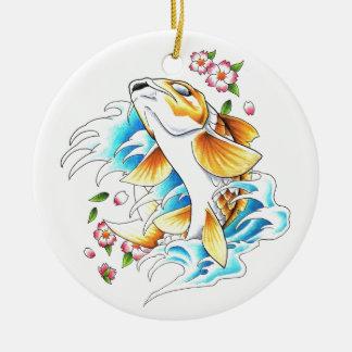 Cool Oriental Japanese Koi Carp Fish Water tattoo Round Ceramic Decoration
