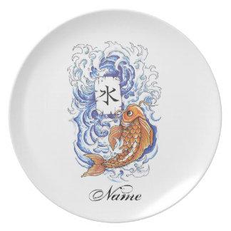 Cool Oriental Japanese Koi Carp Fish Wave tattoo Plate