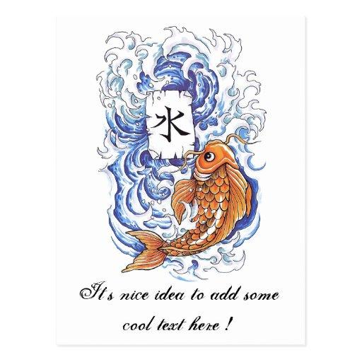 Cool oriental japanese koi carp fish wave tattoo postcard for Cool koi fish