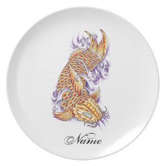 Cool Oriental Japanese Koi Fish Carp Gold tattoo Dinner Plates