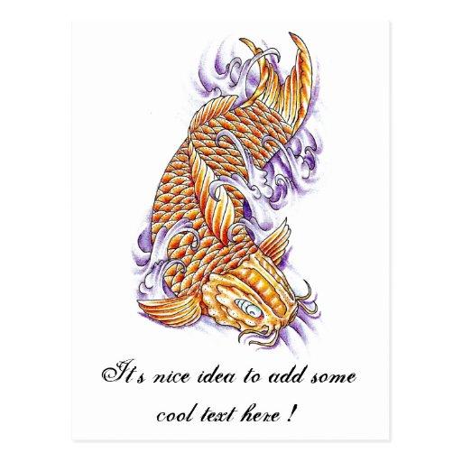 Cool oriental japanese koi fish carp gold tattoo postcard for Cool koi fish
