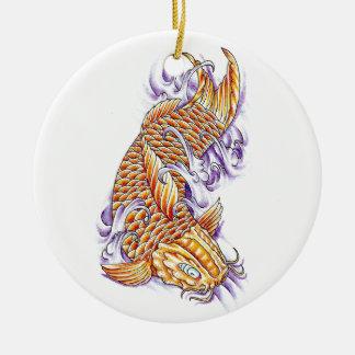 Cool Oriental Japanese Koi Fish Carp Gold tattoo Round Ceramic Decoration