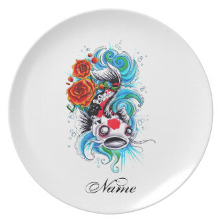 Cool Oriental Japanese Koi Fish Carp Rose tattoo Plate