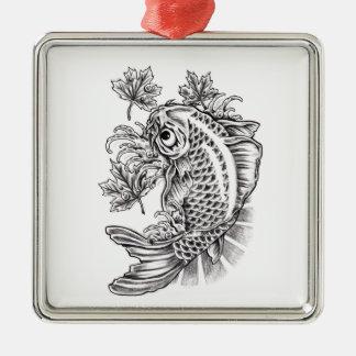 Cool Oriental Japanese Koi Fish Carp tattoo Silver-Colored Square Decoration