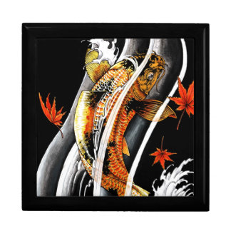 Cool Oriental Japanese Koi Lucky Carp Water Ink Large Square Gift Box