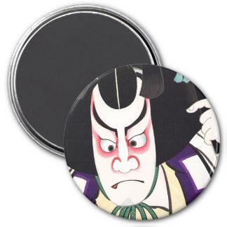 Cool Oriental Japanese Kumadori tattoo 7.5 Cm Round Magnet