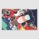 Cool oriental japanese kunichika samurai warrior rectangular sticker