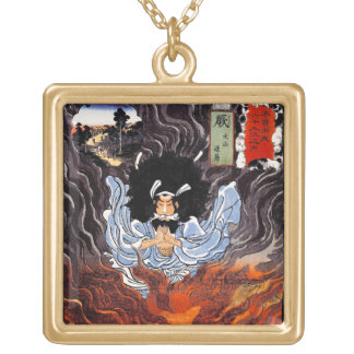 Cool oriental japanese Kuniyoshi bushi spirit art Square Pendant Necklace