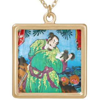 Cool oriental japanese Legendary Ancient Hero art Square Pendant Necklace