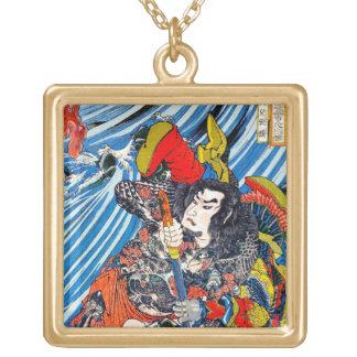 Cool oriental japanese Legendary Hero Samurai Square Pendant Necklace