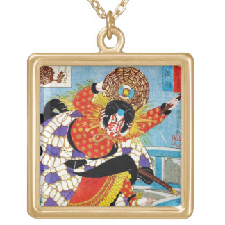 Cool oriental japanese Legendary Hero Warrior art Square Pendant Necklace