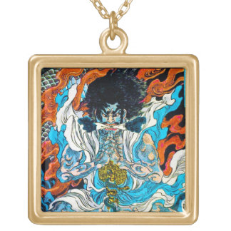 Cool oriental japanese Legendary Hero Warrior Square Pendant Necklace