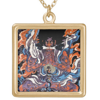 Cool oriental japanese Legendary Sanin warrior art Square Pendant Necklace
