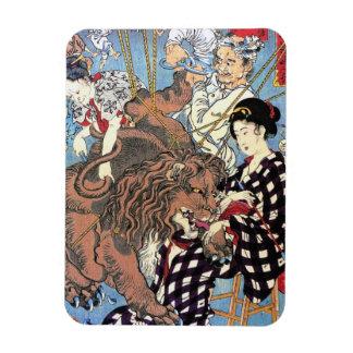 Cool oriental japanese Lion fall in Love art Rectangular Photo Magnet