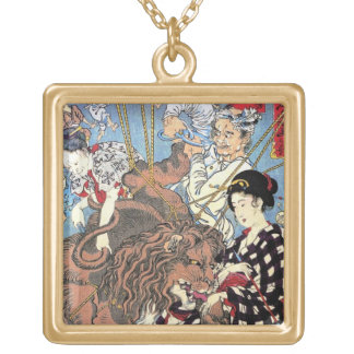 Cool oriental japanese Lion fall in Love art Square Pendant Necklace