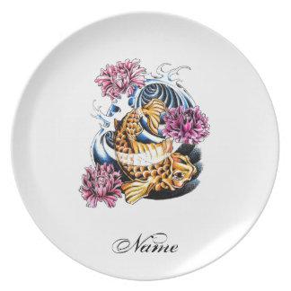 Cool Oriental Japanese Lucky Koi Carp tattoo Plates