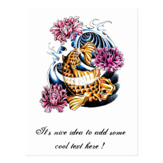 Cool Oriental Japanese Lucky Koi Carp tattoo Postcard