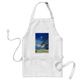 Cool oriental japanese moonlight night scenery adult apron