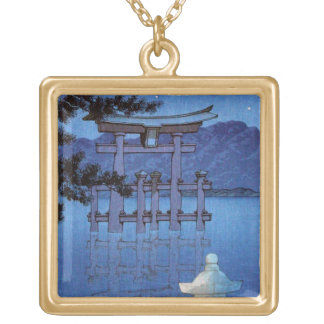 Cool oriental japanese night gate scenery art square pendant necklace