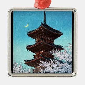 Cool oriental japanese night shrine temple scene Silver-Colored square decoration