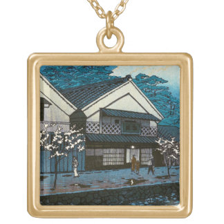 Cool oriental japanese night village street scene square pendant necklace