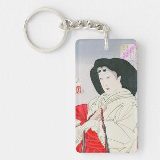Cool oriental japanese old geisha lady art Double-Sided rectangular acrylic key ring