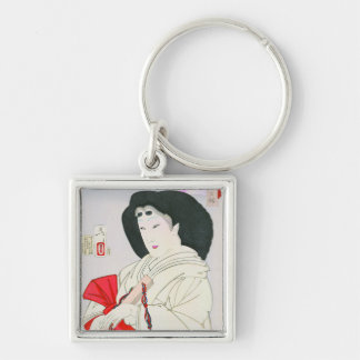 Cool oriental japanese old geisha lady art Silver-Colored square key ring