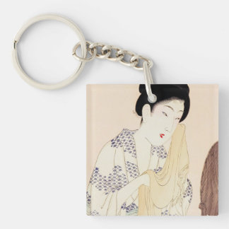 Cool oriental japanese old print geisha lady art Double-Sided square acrylic key ring