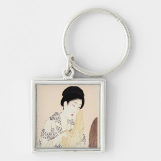 Cool oriental japanese old print geisha lady art Silver-Colored square key ring