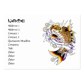 Cool oriental japanese orange dragon koi fish pack of chubby business cards