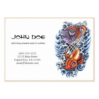 Cool oriental japanese orange ink lucky koi fish business cards