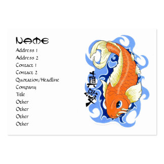 Cool oriental japanese orange ink lucky koi fish large business cards (Pack of 100)
