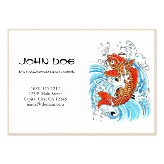 Cool oriental japanese orange ink lucky koi fish business card