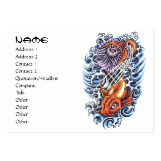 Cool oriental japanese orange ink lucky koi fish pack of chubby business cards