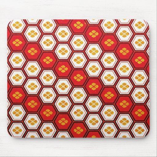 Cool oriental japanese pentagon vibrant patttern mouse pads