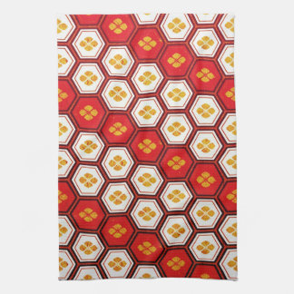 Cool oriental japanese pentagon vibrant patttern tea towel