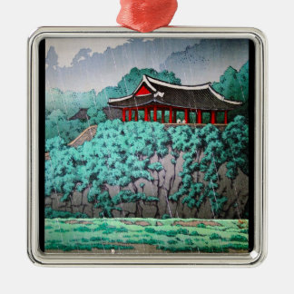 Cool oriental japanese rainy river side scenery Silver-Colored square decoration