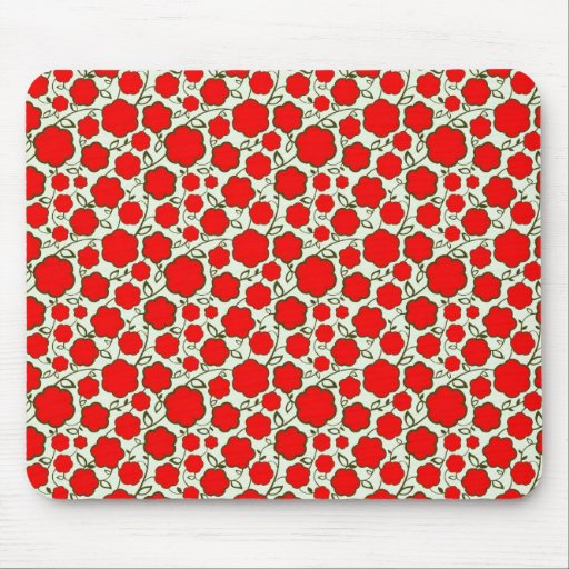 Cool oriental japanese red flower floral pattern mouse pad