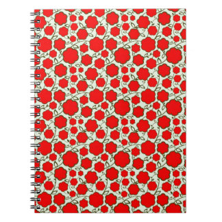Cool oriental japanese red flower floral pattern notebooks