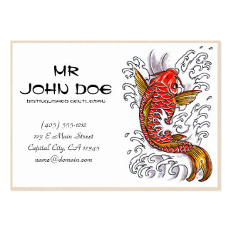 Cool oriental japanese red ink lucky koi fish pack of chubby business cards