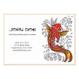 Cool oriental japanese red ink lucky koi fish business card template
